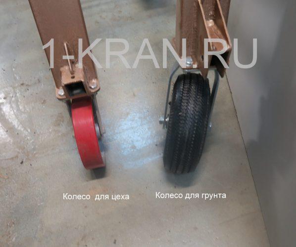 Колеса для перемещения по грунту ручного козлового мини крана